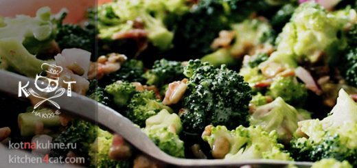 Салат из брокколи и фруктов с мясом