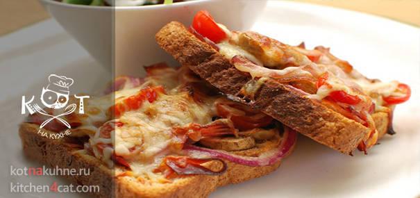 Элементарная пицца с грибами и ветчиной на тосте