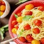 Макароны с помидорами черри и чесноком. Рецепт вкусной пасты
