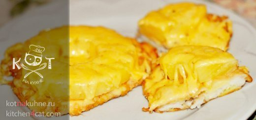 Курица, запеченная с ананасами под сыром