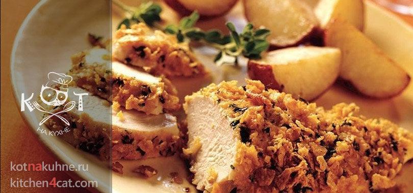 Хрустящая курица с чесноком и солеными крекерами