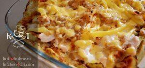 Запеканка из кабачков с курицей и сыром