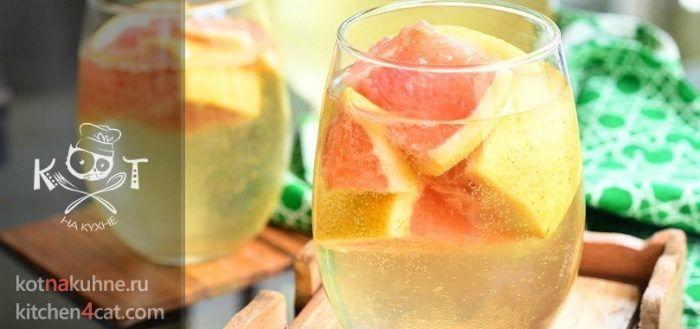 Алкогольный грейпфрутовый коктейль Сангрия с апельсином