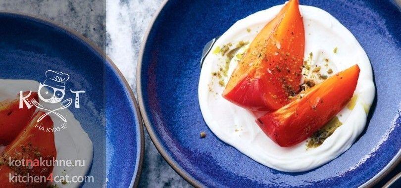 Хурма с греческим йогуртом и фисташками