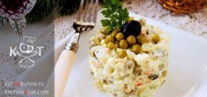 """Вегетарианский салат """"Оливье"""" без мяса и колбасы"""