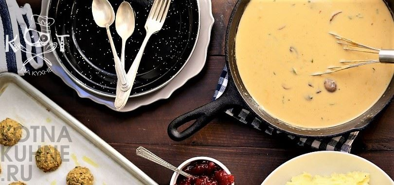 Грибная подлива со сливками к мясу или фрикаделькам