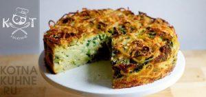 Пирог из спагетти с сыром и брокколи