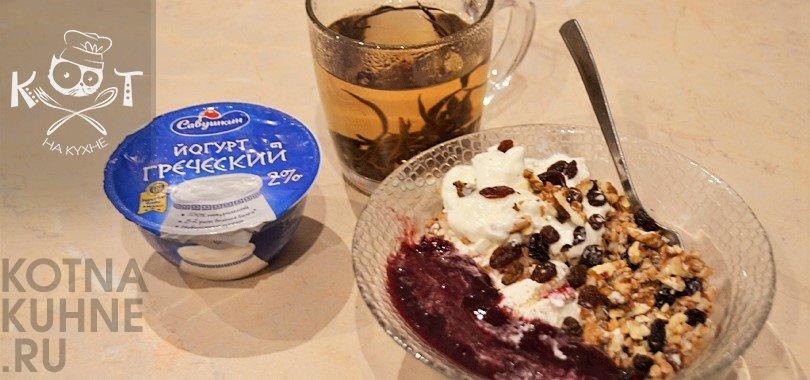 Сладкая каша без варки из гречки с йогуртом и творогом