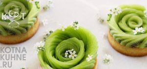 Фруктовые тарталетки с киви и персиком и белым шоколадом