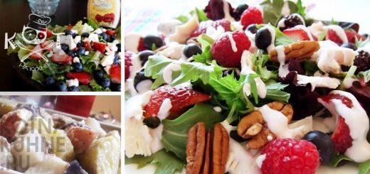 Сладкий салат с курицей, ягодами и орехами