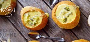 Сливочно-сырный суп из брокколи в хлебном горшочке