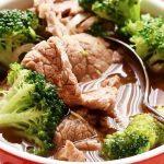 Китайский суп из брокколи с мясом говядины
