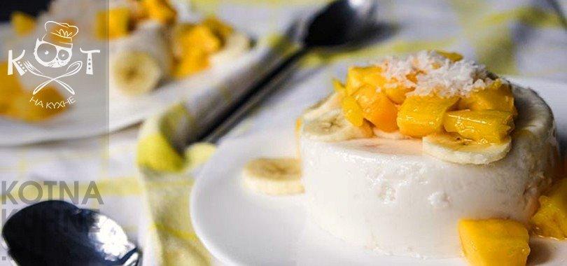 Десерты с желатином: Тропическая Панна Котта с йогуртом без сахара