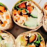 """Вегетарианский рулет """"Хумус в лаваше"""" с грибами и овощами"""
