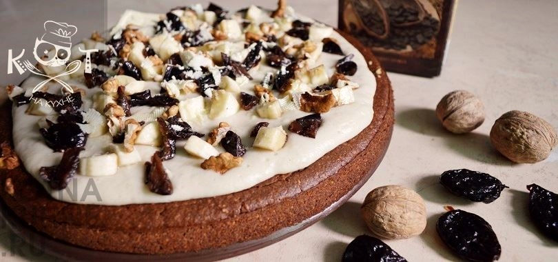 Шоколадно-кофейный торт (веганский, без яиц, сахара и сливочного масла)