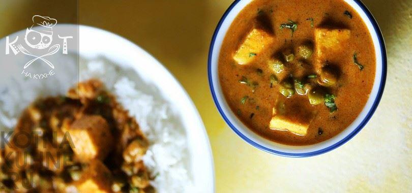 Вегетарианский гороховый суп с адыгейским сыром (без мяса)