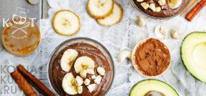 Сладкий шоколадный крем из авокадо и банана (без сахара, RAW)