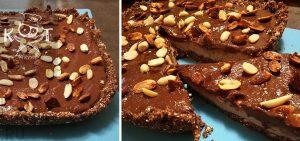 Шоколадно-арахисовый торт-мороженое с кремом без выпечки